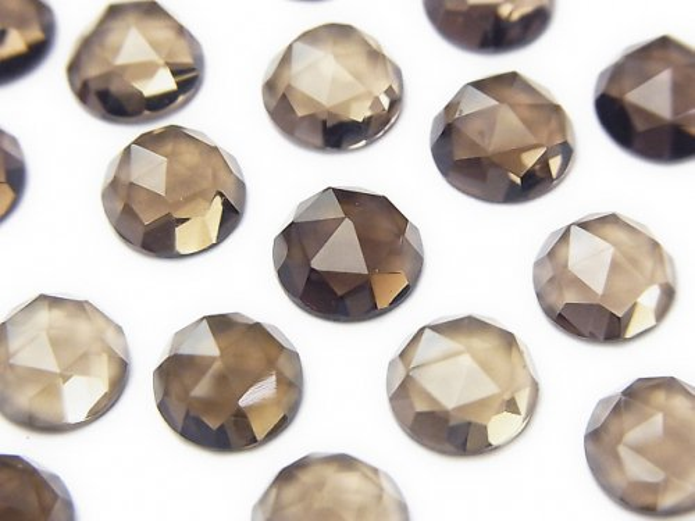 宝石質スモーキークォーツAAA ラウンド ローズカット8×8×4mm 4粒