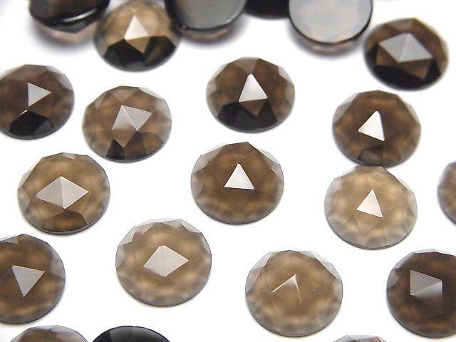 宝石質スモーキークォーツAAA ラウンド ローズカット10×10×4mm 3粒