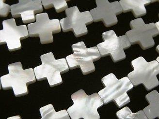 天然石卸 ホワイトシェル クロス(十字架)10×10×2 半連/1連(約38cm)