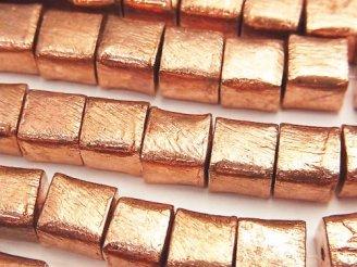 天然石卸 コッパー(銅) キューブ8×8×8mm 半連/1連(約18cm)
