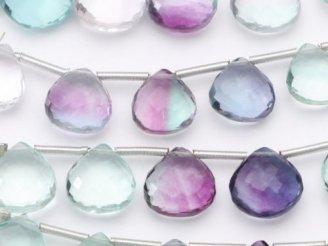 天然石卸 極上カット!宝石質マルチカラー フローライトAAA マロン ブリオレットカット 【Mサイズ】 1連(10粒)