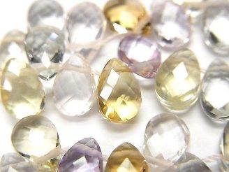 天然石卸 宝石質いろんな天然石AAA ペアシェイプカット7×5×3 1連(約4cm)