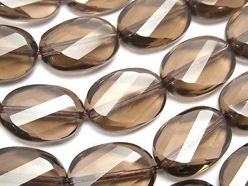 宝石質スモーキークォーツAAA ツイストオーバルカット18×13×6mm 半連/1連(約36cm)