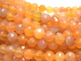天然石卸 素晴らしい輝き!オレンジカラーカルセドニー 128面ラウンドカット6mm 半連/1連(約37cm)
