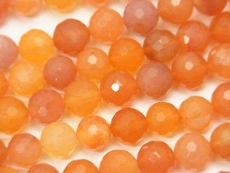 天然石卸 素晴らしい輝き!オレンジカラーカルセドニー 128面ラウンドカット8mm 半連/1連(約37cm)