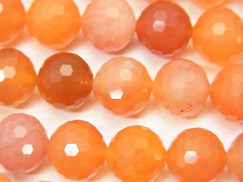 【素晴らしい輝き】オレンジカラーカルセドニー 128面ラウンドカット12mm 半連/1連(約36cm)