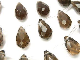 天然石卸 スモーキークォーツ 大粒ドロップ ブリオレットカット16×10×10 1/4連〜1連(約38cm)