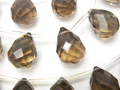 スモーキークォーツ 大粒ドロップ ブリオレットカット16×12×12mm 1/4連〜1連(約36cm)