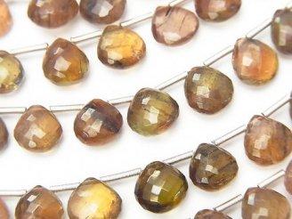天然石卸 極上カット!宝石質アンダルサイトAAA+ マロン ブリオレットカット 【Sサイズ】 1連(10粒)