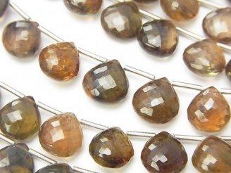 天然石卸 極上カット!宝石質アンダルサイトAAA+ マロン ブリオレットカット 【Mサイズ】 1連(10粒)