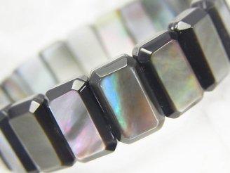 天然石卸 高品質ブラックシェルAAA 2つ穴レクタングルカット14×9×5 1連(ブレス)