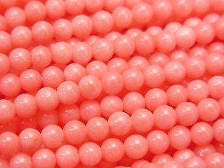天然石卸 1連480円!ピンクオレンジコーラル(染) ラウンド4mm 1連(約38cm)