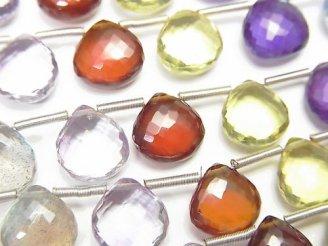 【動画】【極上カット】宝石質いろんな天然石AAA+ マロン ブリオレットカット 1連(約12cm)