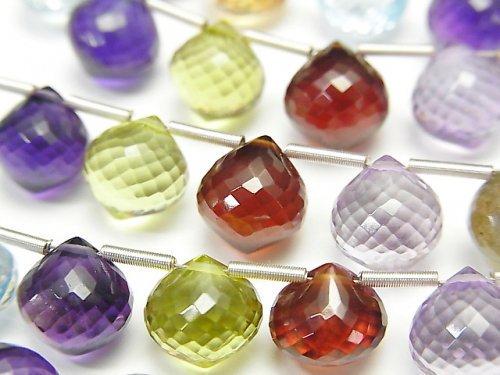 【動画】【極上カット】宝石質いろんな天然石AAA+ オニオン ブリオレットカット 1連(約10cm)