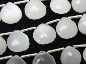 天然石卸 極上カット!宝石質ホワイトムーンストーンAAA マロン ブリオレットカット 1連(10粒)