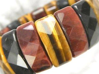 天然石卸 タイガーアイAA++ 3色ミックス 2つ穴レクタングルカット25×11×8 1連(ブレス)