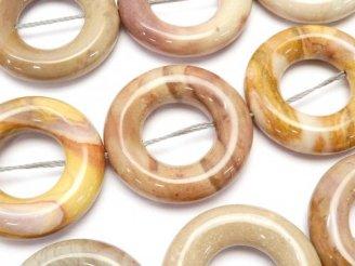 天然石卸 アフリカンジャスパー コイン(ドーナツ)25×25×6 半連/1連(約37cm)