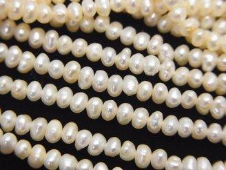 天然石卸 1連580円!淡水真珠AA ロンデル3.5〜4mm ホワイト 1連(約37cm)