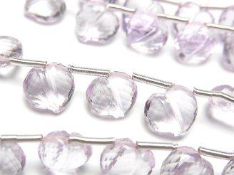 天然石卸 宝石質ピンクアメジストAAA ライン入りハートカット 3粒〜1連(約20cm)