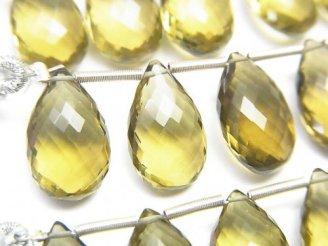 天然石卸 極上カット!宝石質オリーブカラークォーツAAA ペアシェイプ ブリオレットカット 1連(5粒)
