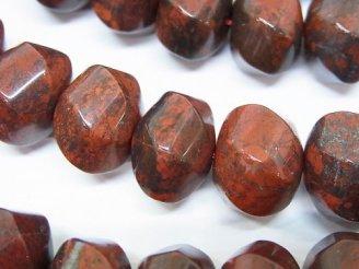天然石卸 ポピージャスパー 6面ツイスト×ボタンカット14×14×10 半連/1連(約37cm)
