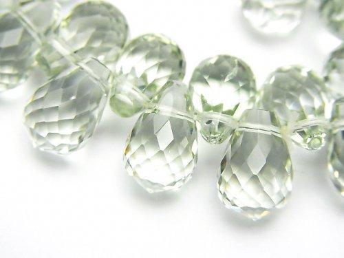 【1点もの】宝石質グリーンアメジストAAA ドロップ ブリオレットカット 1連(ブレス) NO.8