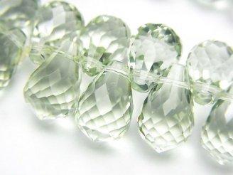 天然石卸 1点もの!宝石質グリーンアメジストAAA ドロップ ブリオレットカット 1連(ブレス) NO.11