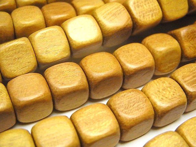 ウッドビーズ(イエロー) キューブ10×10×10mm 1連(約38cm)
