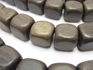 天然石卸 1連480円!グレーウッド キューブ12×12×12 1連(約38cm)