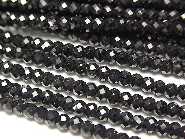 【動画】【素晴らしい輝き】2本780円!宝石質ブラックスピネルAAA++ ボタンカット3×3×2mm 1連 (約38cm)
