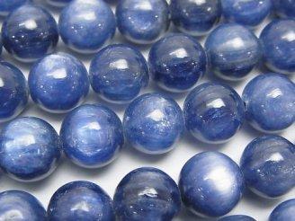天然石卸 1/4連から購入可能!最高級カイヤナイトAAA+ ラウンド10mm 1/4連〜1連(約38cm)