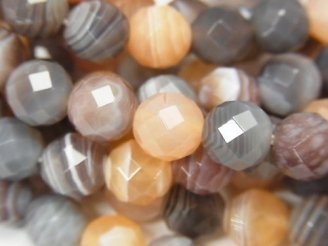 天然石卸 オレンジボツワナアゲート 64面ラウンドカット8mm 半連/1連(約38cm)