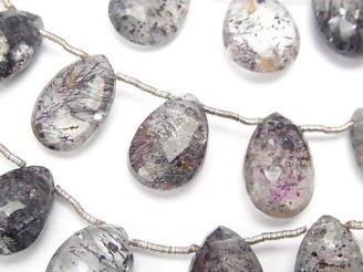 天然石卸 宝石質エレスチャルクォーツAA++ ペアシェイプ ブリオレットカット 半連/1連(約17cm)