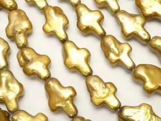 天然石卸 1連1,480円!淡水真珠 クロス型 ゴールド 1連(約38cm)