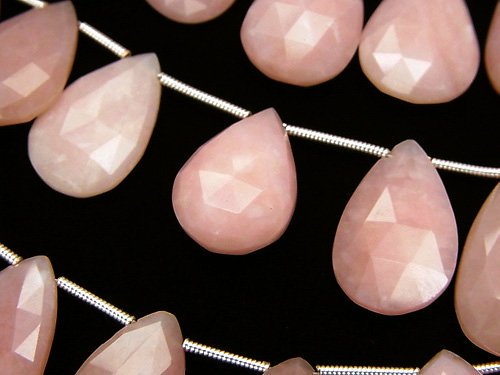 宝石質ピンクオパールAAA 大粒ペアシェイプ ブリオレットカット サイズグラデーション 半連/1連(約16cm)