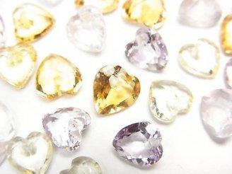 天然石卸 宝石質いろんな天然石AAA ハートシェイプカット6×6×3 10粒・1連(ブレス)