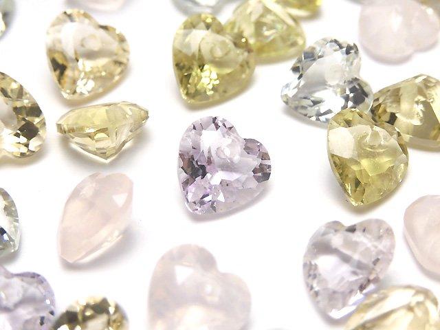 宝石質いろんな天然石AAA ハートシェイプカット8×8×4mm 10粒・1連(ブレス)