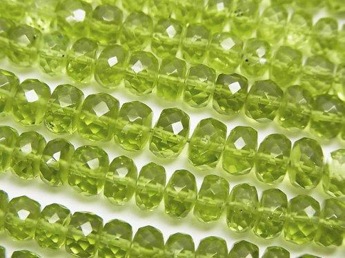 宝石質ペリドットAAA 中粒ボタンカット 半連/1連(約31cm)