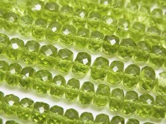 天然石卸 宝石質ペリドットAAA 中粒ボタンカット 半連/1連(約31cm)