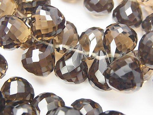 【動画】【素晴らしい輝き】宝石質スモーキークォーツAAA ドロップ ブリオレットカット 12×10×10mm 10粒〜