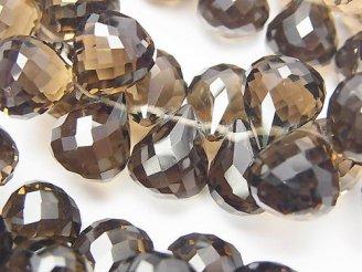 天然石卸 素晴らしい輝き!スモーキークォーツAAA ドロップ ブリオレットカット 12×10×10 10粒〜!