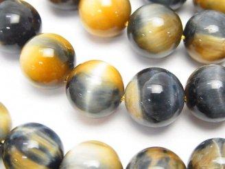 天然石卸 シルバーブルー&ゴールデンタイガーアイAA++ ラウンド12mm 半連/1連(約37cm)