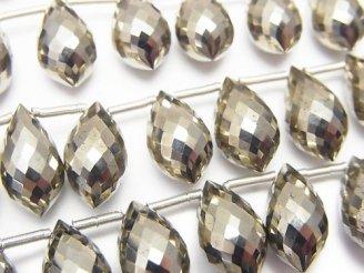 天然石卸 極上カット!宝石質ゴールデンパイライトAAA マーキスライス ブリオレットカット 1連(10粒)