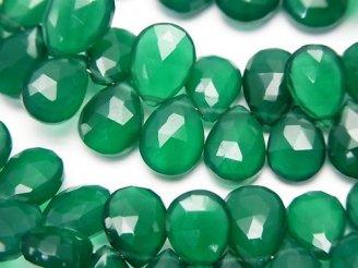 天然石卸 宝石質グリーンオニキスAAA ペアシェイプ ブリオレットカット 半連/1連(約22cm)
