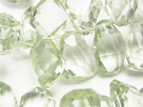 【動画】宝石質グリーンアメジストAAA' ラフブリオレットカット 半連/1連(約18cm)
