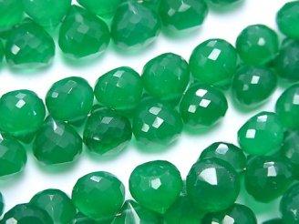 天然石卸 宝石質グリーンオニキスAAA オニオン ブリオレットカット 半連/1連(約18cm)