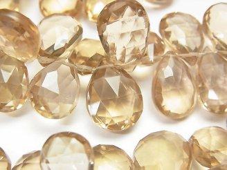 天然石卸 宝石質シャンパンクォーツAAA 大粒ペアシェイプ ブリオレットカット 1/4連〜1連(約18cm)