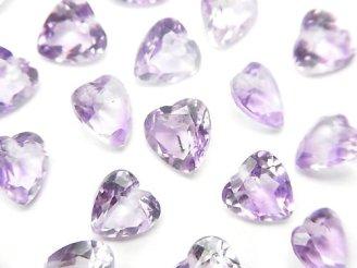 天然石卸 宝石質ライトカラーアメジストAAA ハートシェイプカット 6×6×3 10粒〜1連(ブレス)