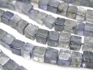 天然石卸 1連1,280円!アイオライトAA++〜AA+ キューブ 1連(約37cm)