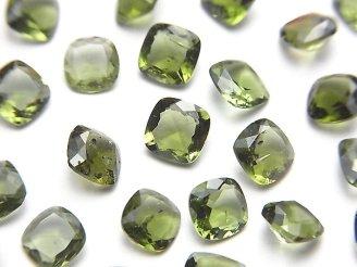 天然石卸 宝石質モルダバイトAAA スクエア型ファセットカット6×6×3mm 穴なし 1個1,680円!